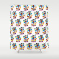 80s Shower Curtains featuring 80s Vampire by JudithzzYuko