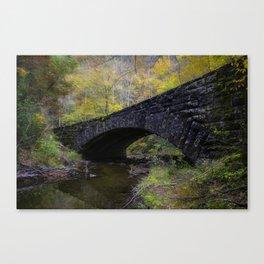Laurel Creek Bridge - Autumn Colors Surround a Stone Bridge in Smoky Mountains Canvas Print