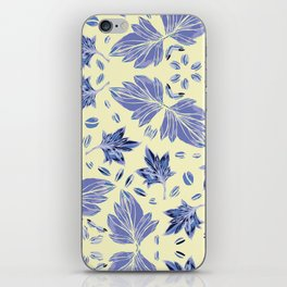 Autumn leaves in light yellow and blue iPhone Skin
