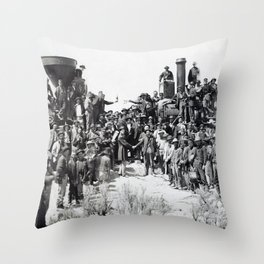 Driving the Golden Spike at Promontory Summit, Utah (May 10, 1869) Throw Pillow