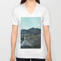 never stop exploring V-neck T-shirts featuring Never Stop Exploring by Lindsaycarvalho