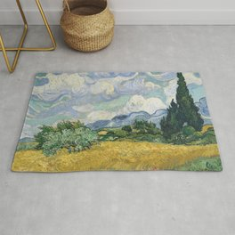 Wheat Field with Cypresses by Vincent van Gogh Rug