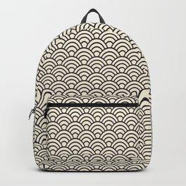 Japanese Wave Seigaiha Grey Seamless Patterns Symbols Backpack