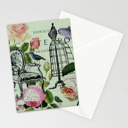 botanical butterfly garden roses french mannequin fashion paris Stationery Cards