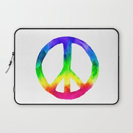 Rainbow Watercolor Peace Sign Laptop Sleeve