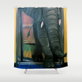 the elephant in the elevator Shower Curtain