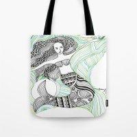 mermaids Tote Bags featuring Mermaids by winnie patterson