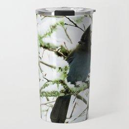 Steller's Jay in the Snow Travel Mug