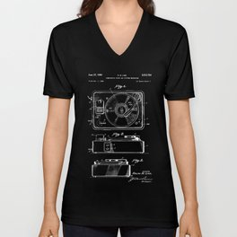 Turntable Patent - White on Black Unisex V-Neck