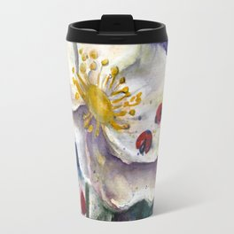 Lady Birds, Strawberry Flowers Travel Mug