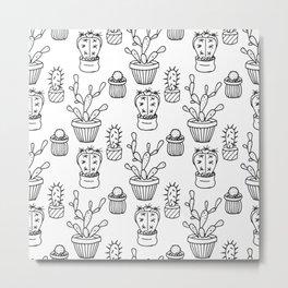 Cactus - white Metal Print