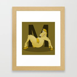 Pony Monogram Letter m Framed Art Print