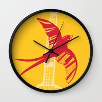 swallow Wall Clocks featuring Swallow by Cai Sepulis