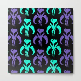 Mythosaur Skulls in Purple and Teal Metal Print