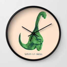 Lonely loch ness monster (loch-li-ness) Wall Clock