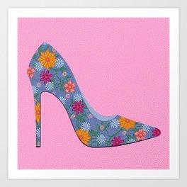 Sexy Heels - Denim Floral Art Print