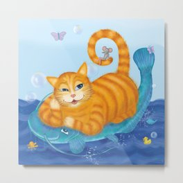Orange tabby cat & blue catfish  Funny kids illustration Metal Print