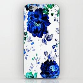 ROSES BLUE VINTAGE PATTERN iPhone Skin