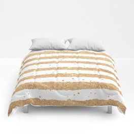 Elegant white faux gold glitter geometrical stripes Comforters