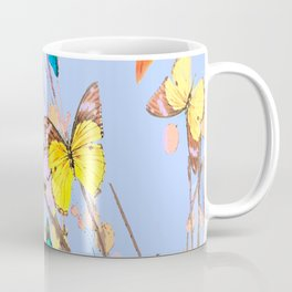 Playing butterflies on a summer day - lovely blue sky background - cheerful and happy Coffee Mug
