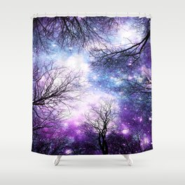 Black Trees Violet Purple Blue Space Shower Curtain