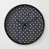 gold dots Wall Clocks featuring Gold Dots on Blue by Tamsin Lucie