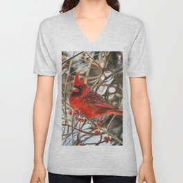 Winter Cardinal by Teresa Thompson Unisex V-Neck
