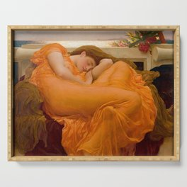 Flaming June Oil Painting by Frederic Lord Leighton Serving Tray