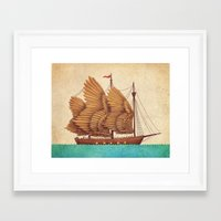 brown Framed Art Prints featuring Winged Odyssey by Terry Fan