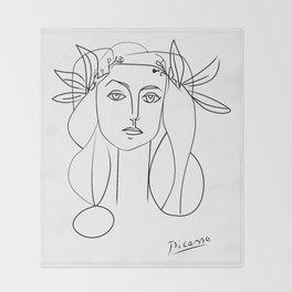 Picasso lady  Modern Sketch Picasso Art Modern Minimalist Throw Blanket