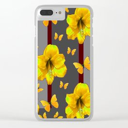 """AMARYLLIS """"FOR THE LOVE OF BUTTERFLIES"""" GREY ART Clear iPhone Case"""