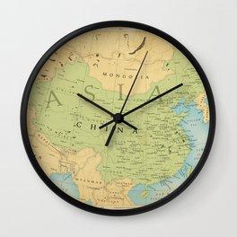 Aged Map of China Wall Clock