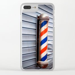 Vintage Barber Pole Clear iPhone Case