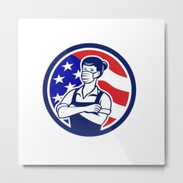 Female Supermarket Worker USA Flag Circle Retro Metal Print