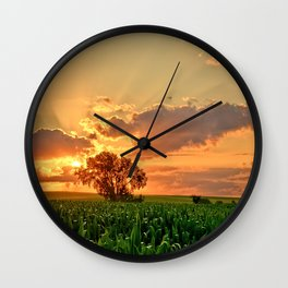 Iowa Summer Fields Wall Clock