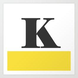 Monogram Letter K-Pantone-Buttercup Art Print