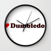 dumbledore Wall Clocks featuring I heart Dumbledore by Umbrella Design