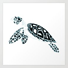Calligram Sea Turtle Art Print