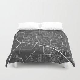 Denton Map, USA - Gray Duvet Cover
