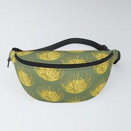 Pincushion Flower Yellow on Green Pattern Fanny Pack