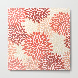 Floral Pattern, Living Coral, Peach, Floral Prints Metal Print