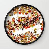 bees Wall Clocks featuring Bees by Rafaela Rodrigues