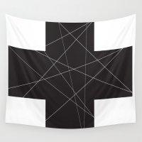 cross Wall Tapestries featuring Cross by hyun yu