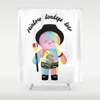 narnia Shower Curtains featuring Royal Hippie Rainbow Bondage Bear Full 2.0 by YOSH FRIDAY