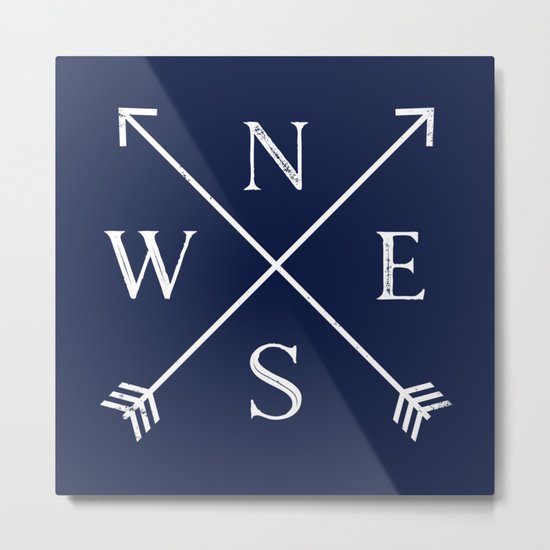 Navy Blue and White Compass Arrows Metal Print