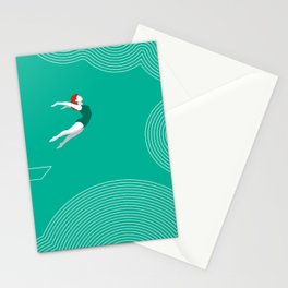 diver girl jumping into the clouds Stationery Cards