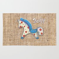 calendar Area & Throw Rugs featuring 2014 horse calendar by Katja Main