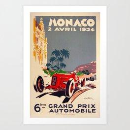1934 Monaco Grand Prix Art Print