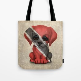 Cute Puppy Dog with flag of Trinidad and Tobago Tote Bag