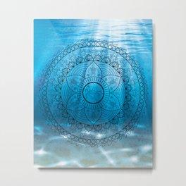 Undersea Ocean Mandala - Hand Drawn Boho Nautical Mandala Metal Print